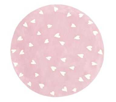 Hearts Round Rug, 5 Ft Round, Blush - Pottery Barn Kids