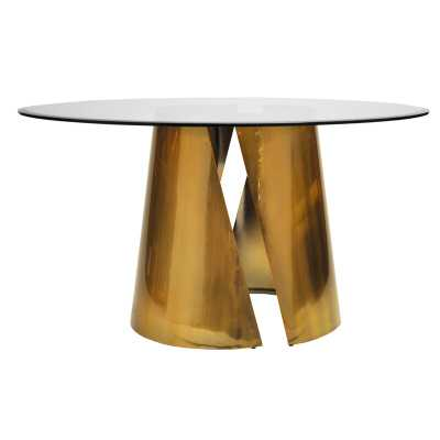 "Worlds Away Dining Table Color: Antique Brass, Size: 30"" H x 48"" L x 48"" W, Table Base Color: Antique Brass - Perigold"