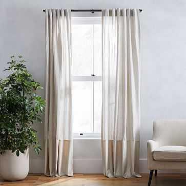 """Belgian Flax Linen + Luster Velvet Curtain, Natural + Stone 48""""x84"""" - West Elm"""