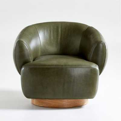 Merrick Leather Swivel Chair - Crate and Barrel