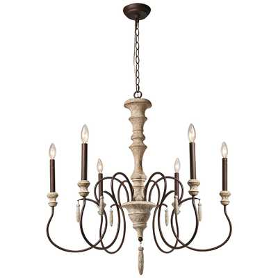 """Izuell 31"""" Wide Off-White 6-Light Candle Chandelier - Style # 85K74 - Lamps Plus"""