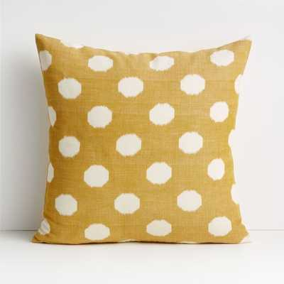 "Anellis 20"" Golden Yellow Polka Dot Pillow with Down-Alternative Insert - Crate and Barrel"