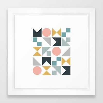 Modern Geometric 09 Framed Art Print by The Old Art Studio - Vector White - X-Small-12x12 - Society6