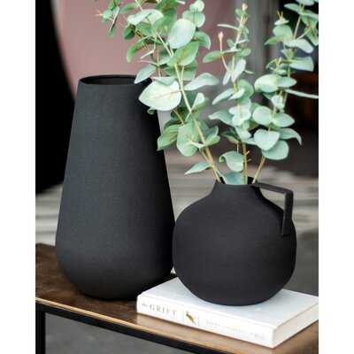 2 Piece Ritter Black Metal Table Vase Set - Wayfair