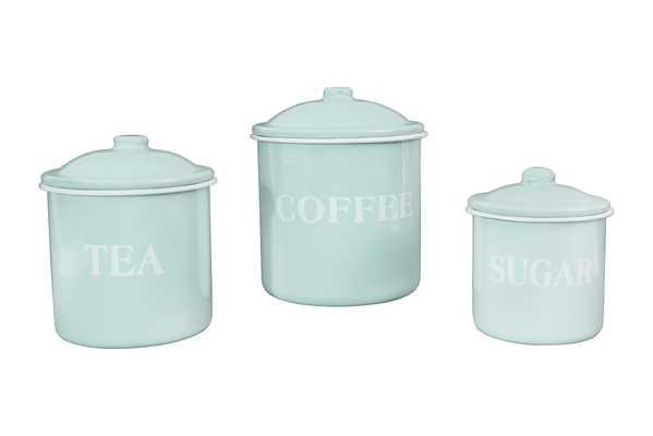 "Metal Containers with Lids, ""Coffee"", ""Tea"", ""Sugar"" (Set of 3 Sizes/Designs) - Nomad Home"