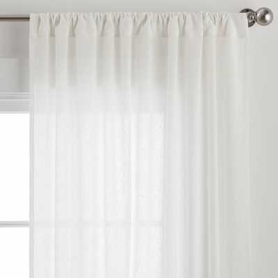 "Cotton Linen Sheer Curtain Set of 2, White, 44"" x 96"" - Pottery Barn Teen"