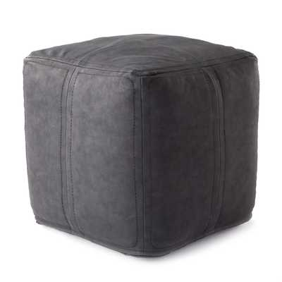 Nikki Chu by Suave Solid Black Cube Pouf - Collective Weavers