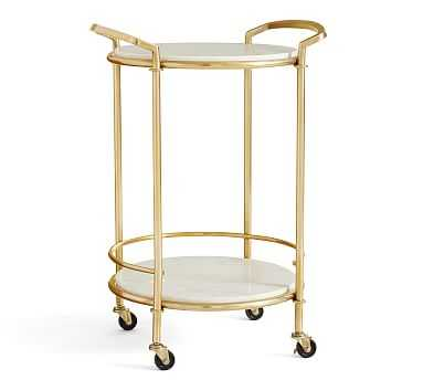 Monique Marble Bar Cart, Gold - Pottery Barn
