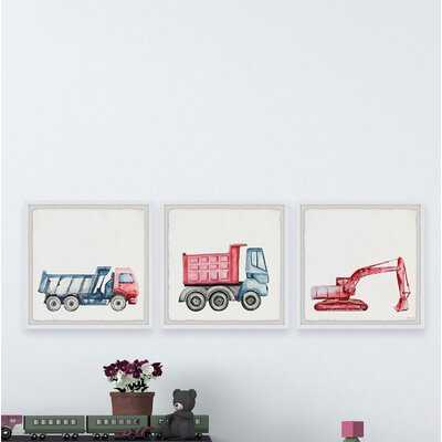 Acevedo Trucks and Diggers 3-Piece Framed Art Set - Wayfair