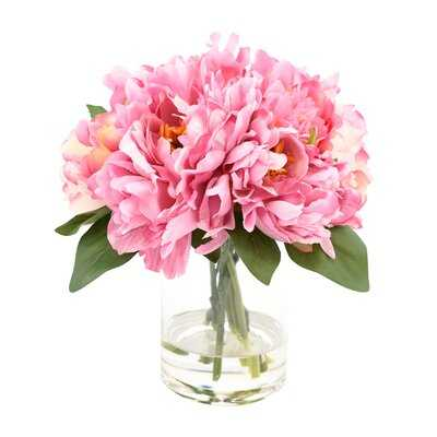 Peonies Floral Arrangement in Decorative Vase - Birch Lane