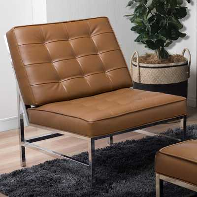 Ashlar Caramel Brown Bonded Leather Tufted Accent Chair - Style # 98R69 - Lamps Plus