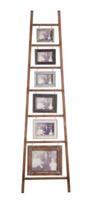 Decorative Wood Ladder with 6 Hanging Photo Frames - Nomad Home
