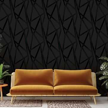 Peel & Stick Intersections Wall Paper, Black On Black - West Elm