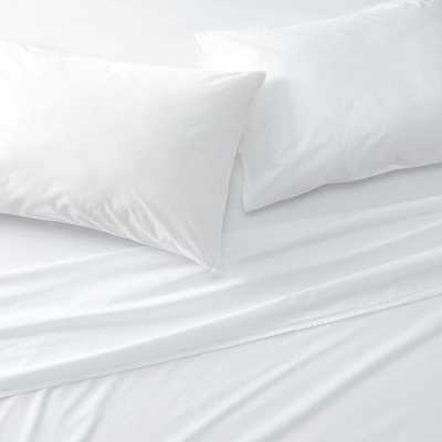 Crisp Cotton Percale White King Sheet Set - Crate and Barrel
