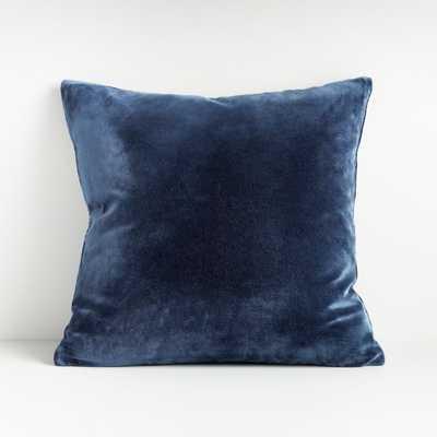 "Regis Blue 20"" Velvet Pillow - Crate and Barrel"