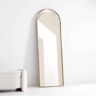 Aosta Brass Arch Cutout Floor Mirror - Crate and Barrel