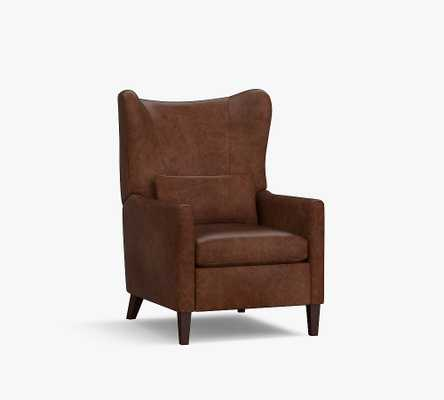 Champlain Square Arm Leather Wingback Recliner, Polyester Wrapped Cushions, Statesville Molasses - Pottery Barn