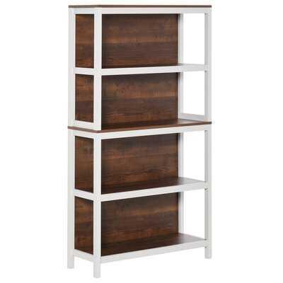 4 Tier Bookshelf Utility Storage Shelf Organizer With Back Support And Anti-Topple Design, Walnut/White - Wayfair