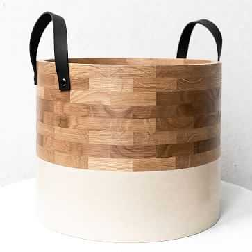 Large Dipped Basket, White Oak, Tan With Black Handles - West Elm