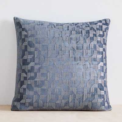 """Geo Chenille Jacquard Pillow Cover, 20""""x20"""", Stormy Blue - West Elm"""