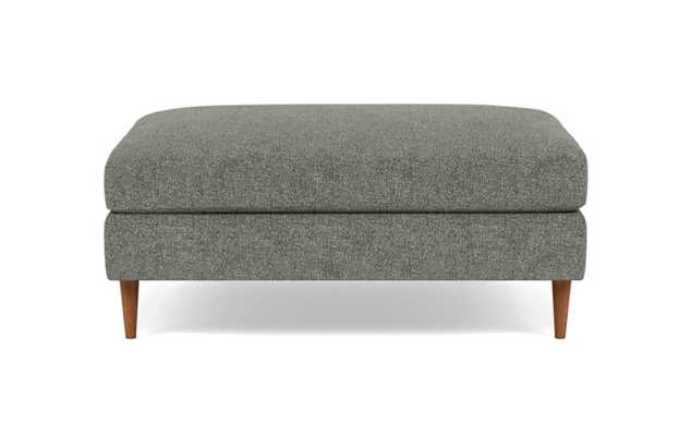 Sloan Ottoman with Grey Graphite Fabric, standard down blend cushions, and Oiled Walnut legs - Interior Define