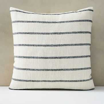 "Cotton Silk Simple Stripe Pillow Cover, 24""x24"", Stone White - West Elm"