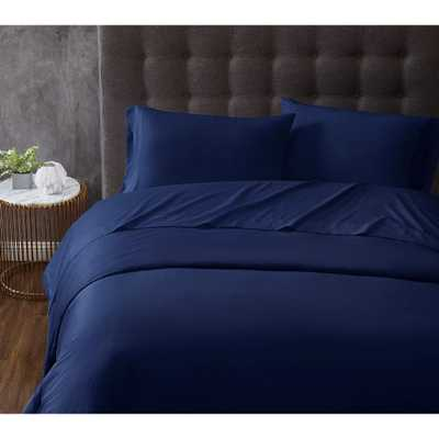 TRULY CALM Antimicrobial 3-Piece Navy Microfiber Twin Sheet Set, Blue - Home Depot