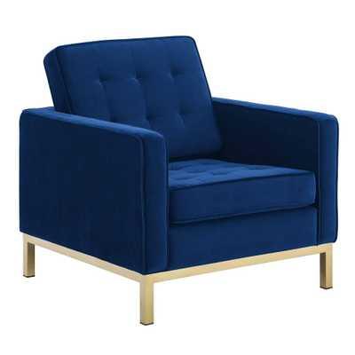 Loft Gold Stainless Steel Performance Velvet Armchair Gold/Navy - Modway, Gold/Blue - Target