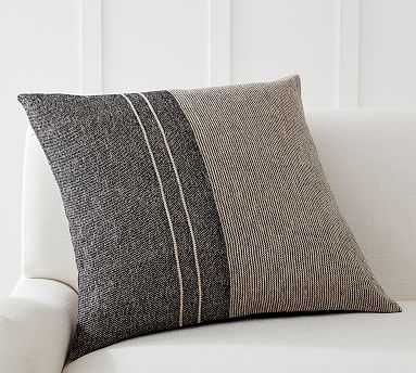 "Caylee Striped Pillow Cover, 24 x 24"", Gray Multi - Pottery Barn"