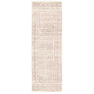 eCarpet Gallery Mia Grey 2 ft. 7 in. x 8 ft. Border Runner Rug, Ivory - Home Depot