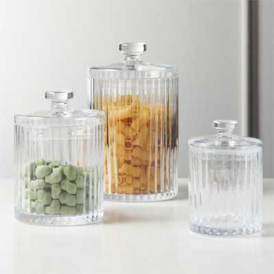Madeline Clear Glass Canisters Set of 3 - CB2