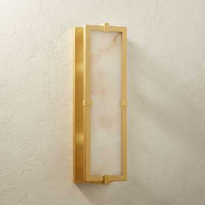Alabaster Single Plate Brass Sconce - CB2