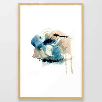 You Are An Ocean - Abstract India Ink & Acrylic In Blue, Gray, Brown, Black And White Framed Art Print by Alyssa Hamilton Art - Conservation Natural - LARGE (Gallery)-26x38 - Society6