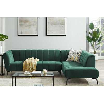 "Haakenson 107.48"" Velvet Right Hand Facing Sofa & Chaise Sectional - Wayfair"