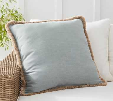 "Sunbrella(R) Solid Tassel Indoor/Outdoor Pillow, 24 x 24"", Chambray - Pottery Barn"