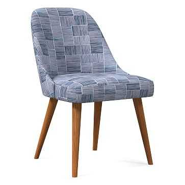 Mid-Century Upholstered Dining Chair, Watercolor Stripe, Midnight, Pecan - West Elm