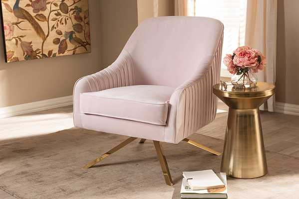 Baxton Studio Amaya Luxe and Glamour Light Pink Velvet Fabric Upholstered Gold Finished Base Lounge Chair - Lark Interiors