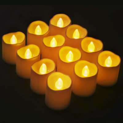 Novelty Place 1.6 in. flameless Votive Candles - Bright Flickering Tea Lights LED Candles ( 12-Pack), White - Home Depot