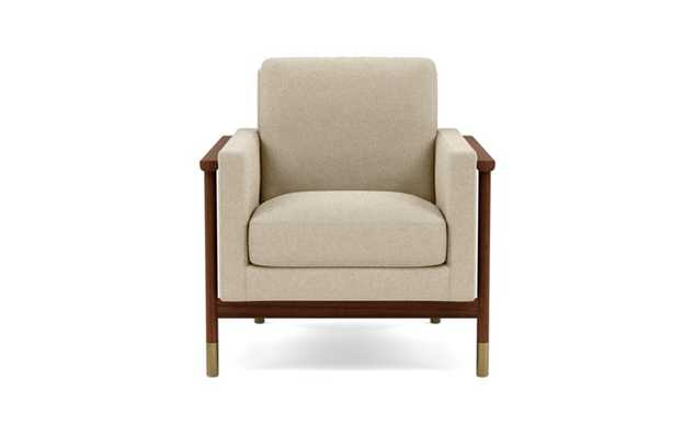 Jason Wu Petite Chair with Beige Oatmeal Fabric and Oiled Walnut with Brass Cap legs - Interior Define