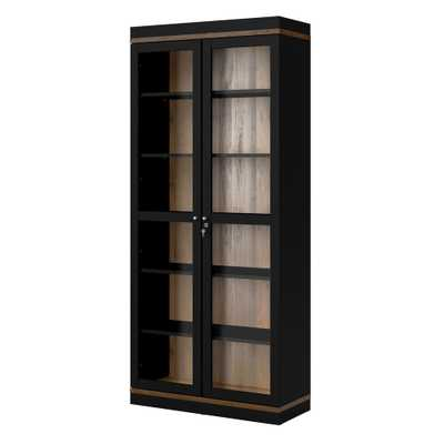 Tvilum Aberdeen Black/Walnut 2 Door China Cabinet - Home Depot