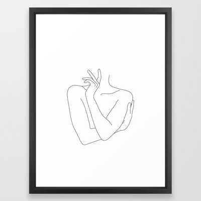 Crossed Arms Illustration Kady Framed Art Print by The Colour Study - Vector Black - MEDIUM (Gallery)-20x26 - Society6