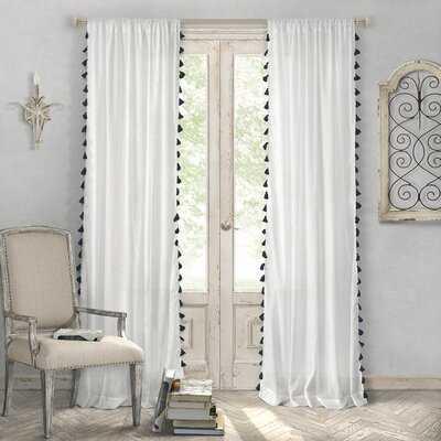 Alexis 100% Cotton Solid Semi-Sheer Rod Pocket Single Curtain Panel - AllModern