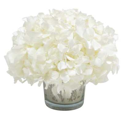 Mini Preserved Hydrangea Floral Arrangement in Vase Flower Color: White - Perigold