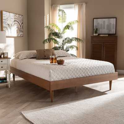 Baxton Studio Rina Mid-Century Modern Ash Wanut Finished Queen Size Wood Bed Frame - Lark Interiors