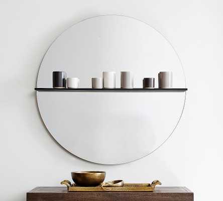 "Romano Round Wall Mirror with Shelf, Glass - 36"" x 36"" - Pottery Barn"