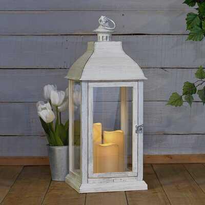 Antique White Battery Powered LED Outdoor Lantern - Birch Lane