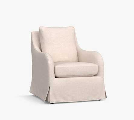 Kelsey Slipcovered Swivel Armchair, Polyester Wrapped Cushions, Performance Boucle Oatmeal - Pottery Barn