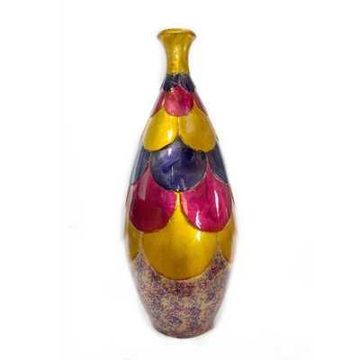 OCEANTAILER DBA HOMEROOT Shelly Amber, Pink, Purple Ceramic Decorative Vase, Amber/Pink/Purple - Home Depot