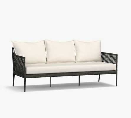 Cammeray All-Weather Wicker Sofa with Cushion, Black - Pottery Barn