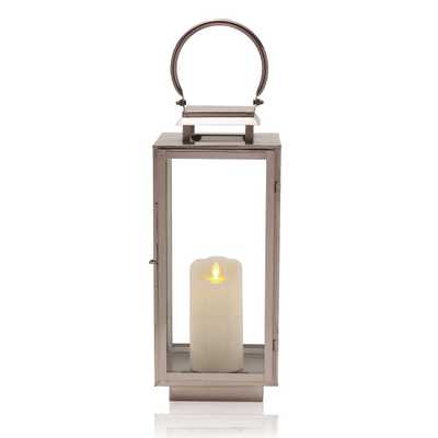 SCOTT LIVING Gray Nickel Metal and Glass Lantern - Home Depot